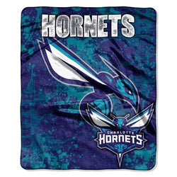 Charlotte Hornets NBA Royal Plush Raschel Blanket (Dropdown Series) (50in x 60in)