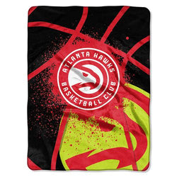Atlanta Hawks NBA Royal Plush Raschel Blanket (Shadow Series) (60x80)