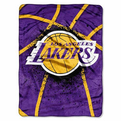 Los Angeles Lakers NBA Royal Plush Raschel Blanket (Shadow Series) (60x80