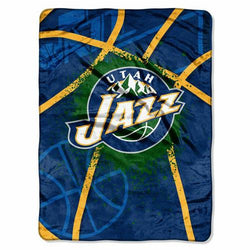 Utah Jazz NBA Royal Plush Raschel Blanket (Shadow Series) (60x80