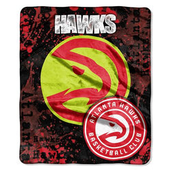 Atlanta Hawks NBA Royal Plush Raschel Blanket (Drop Down Series) (50x60