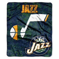 Utah Jazz NBA Royal Plush Raschel Blanket (Drop Down Series) (50x60