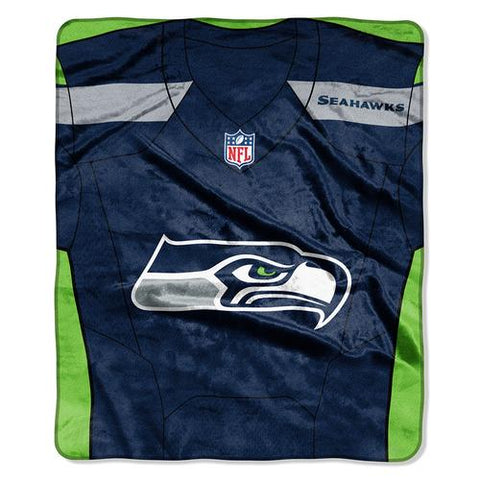 Seattle Seahawks NFL Royal Plush Raschel Blanket (Jersey Raschel) (50in x 60in)