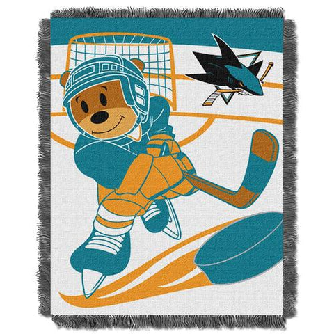 San Jose Sharks NHL Triple Woven Jacquard Throw (Score Baby Series) (36x48