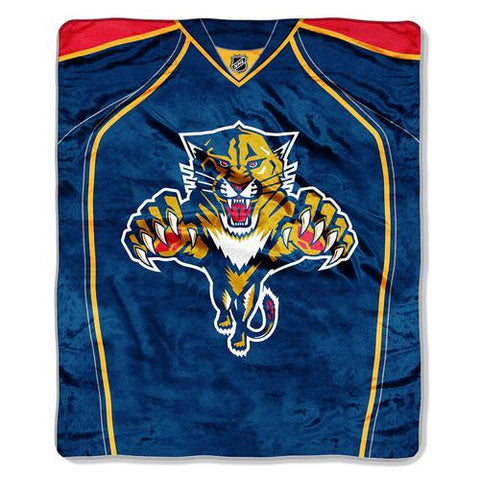 Florida Panthers NHL Royal Plush Raschel Blanket (Jersey Series) (50x60