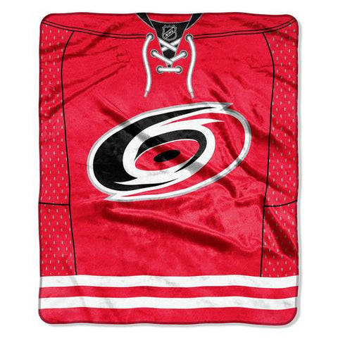 Carolina Hurricanes NHL Royal Plush Raschel Blanket (Jersey Series) (50x60