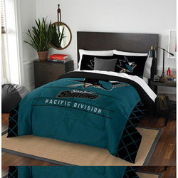 San Jose Sharks NHL Full Comforter Set (Draft Series) (86 x 86