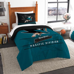 San Jose Sharks NHL Twin Comforter Set (Draft Series) (64 x 86