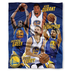 Golden State Warriors NBA Durant, Curry,Green, and Thompson Silk Touch Throw (50in x 60in)