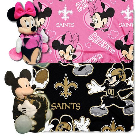 New Orleans Saints NFL Mickey and Minnie Mouse Throw Combo
