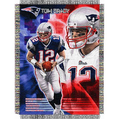 Tom Brady #12 New England Patriots NFL Woven Tapestry Throw Blanket (48x60