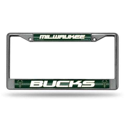 Milwaukee Bucks NBA Bling Glitter Chrome License Plate Frame