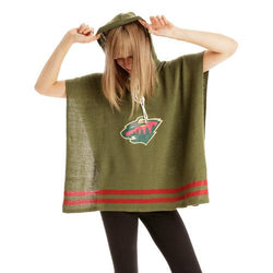 Minnesota Wild NHL Stylish Knitted Cowl Hood Poncho (One Size Fits Most)