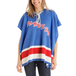 New York Rangers NHL Stylish Knitted Cowl Hood Poncho (One Size Fits Most)
