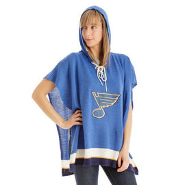 St. Louis Blues NHL Stylish Knitted Cowl Hood Poncho (One Size Fits Most)