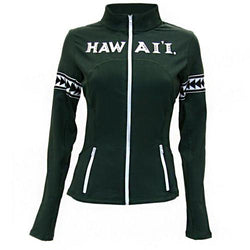 Hawaii Rainbow Warriors NCAA Womens Yoga Jacket (Green) (X-Small)