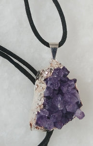 Amethyst, Waxed Cotton Cord Necklace