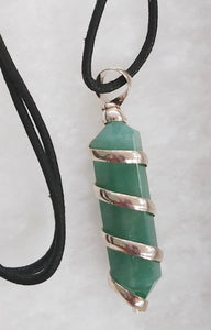 Aventurine, Waxed Cotton Cord Necklace
