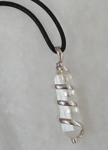 Clear Quartz, Waxed Cotton Cord Necklace