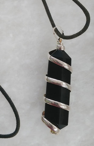 Onyx, Waxed Cotton Cord Necklace