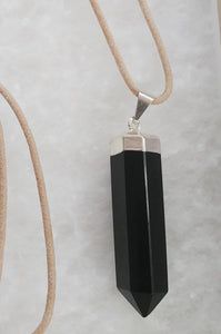 Black Onyx, Waxed Cotton Cord Necklace