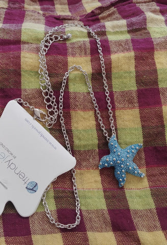 Blue Starfish Necklace, Silver Tone