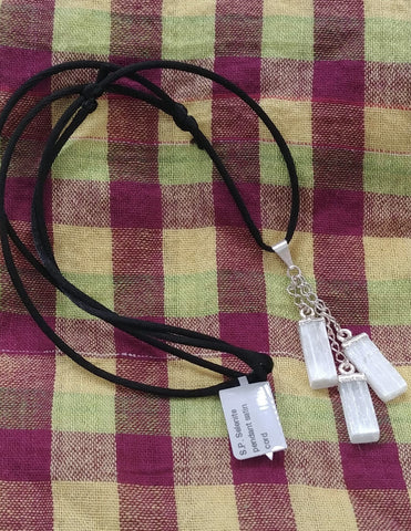 Selenite, Silver Plated Satin Cord Necklace