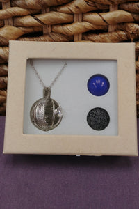 Harmony Ball Lava Rock Necklace Set - Blue