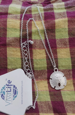Sand Dollar Necklace, Silver Tone