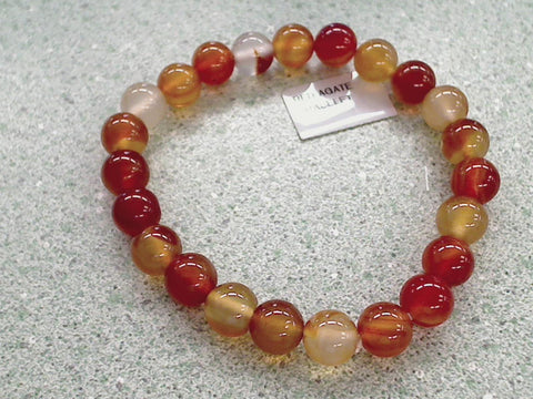 Carnelian And Agate Stretch Bracelet