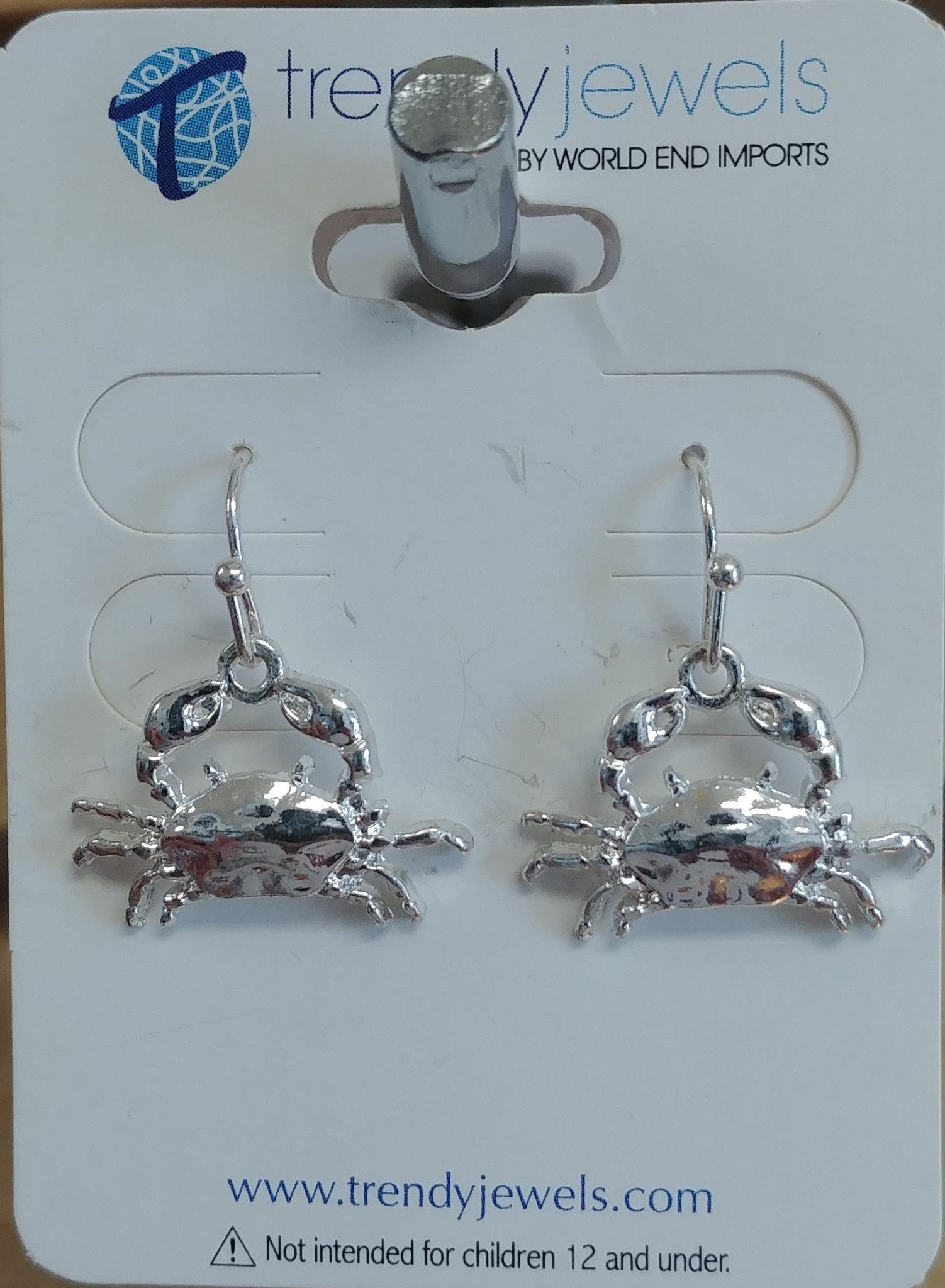 Crab Earrings, Silver Tone
