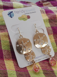 Sand Dollar Pink Crystal Earrings, Gold Tone
