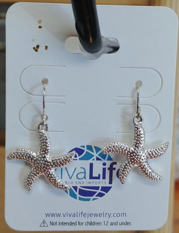 Starfish Earrings, Silver Tone