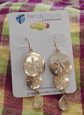 Sand Dollar White Crystal Earrings, Gold Tone