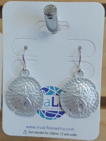 Sand Dollar Earrings, Silver Tone
