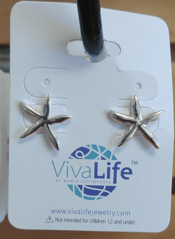 Starfish Post Earrings, Silver Tone