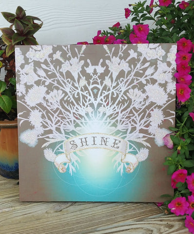 """Shine"" Sparkly Canvas Box Sign 14"" x 14"""