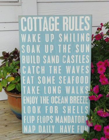 """Cottage Rules"" Box Sign 22"" x 13"""