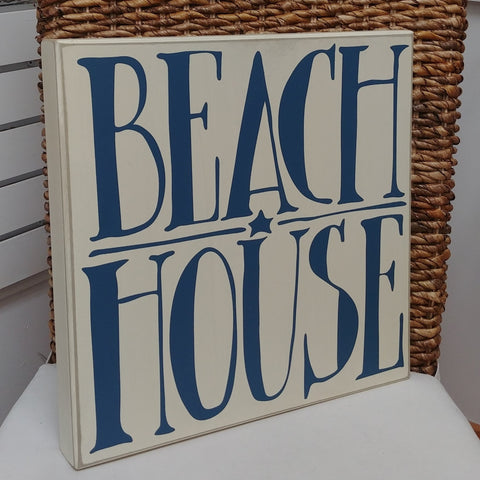 """Beach House"" Large Box Sign 14"" x 14"""