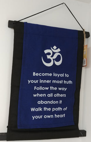 "Om Symbol ""Loyal"" Scroll Banner 15"" x 10"""