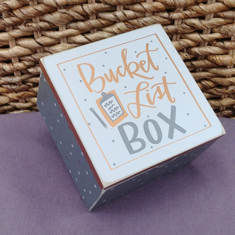 """Bucket List"" Small Wood Box"