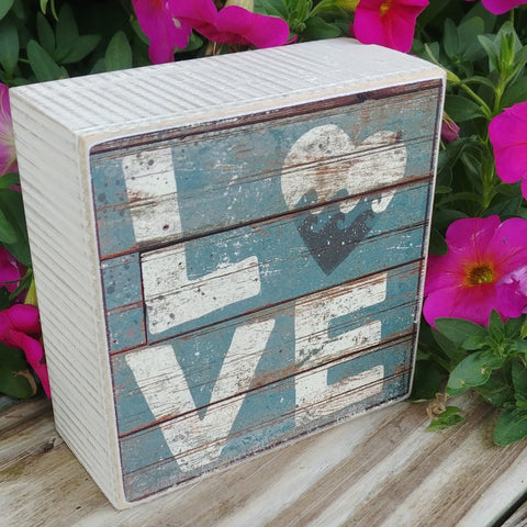 """LOVE"" Mini Box Sign 4"" x 4"""