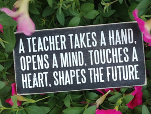 """A Teacher Takes A Hand"" Box Sign 3"" x 6"""