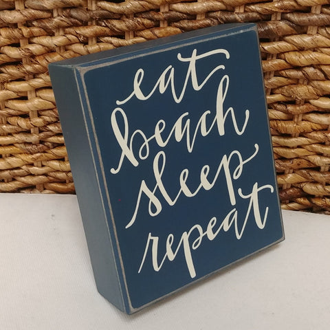 "Eat, Beach, Sleep, Repeat Mini Box Sign 6"" x 5"""