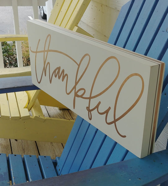 ''Thankful'' Box Sign 9'' x 22''
