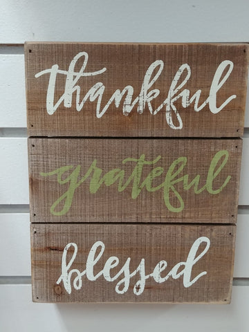 "Thankful Grateful Blessed Box Sign 9"" x 7"""