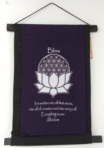 "Bliss Lotus Flower-Life Scroll Banner 15""x10"