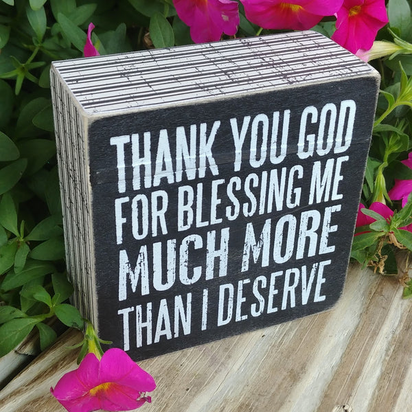 """Thank You God..."" Mini Box Sign 4"" x 4"""