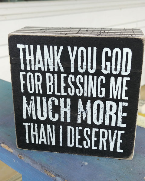 ''Thank You God...'' Mini Box Sign 4'' x 4''