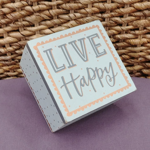 """Live Happy"" Small Wood Box"